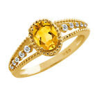 0.72 Ct Oval Citrine Sapphire Gold Plated Sterling Silver Ring