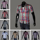 Mens Casual Slim Fit Stylish Short sleeve Plaid Dress Shirts 16 Colors MCS022