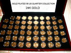 Gold Plated 56 US State Quarter Collection in Glossy Flat Display Box