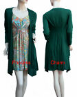 Winter Day Dress Long Top Green Orange Yellow Print Long Sleeve Size M L XL XXL