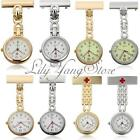Unisex Steel Medical Doctor Nurse Cross Brooch Silver Quartz Pocket Watch Chain