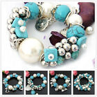 SD059-064 1pc Turquoise Pearl Silvered Resin Stretch Bracelet Bangle