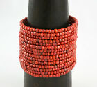 Fashionable Multi Strand Tribal Beaded Cuff Bracelet in Red Coral Color