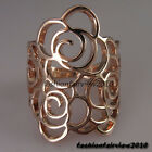 New Unique Rose Gold GP Hollowed-out Rose Flower Pattern Cocktail Ring VR162A