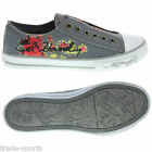 ED HARDY LADIES WOMENS UK SIZE 2.5 - 7.5 GREY STARLIGHT SHOES TRAINERS CANVAS