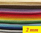 1, 2, 3, 5,10 Meters Original Twisted Soutache Braid Cord – 2 mm wide.