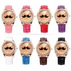 Rose Gold Bling Crystal Mustache Ladies Women 8 Color Leather Quartz Wrist Watch
