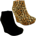 WOMENS HIGH WEDGE HEEL PLATFORM SUEDE ANKLE SHOE BOOTS LADIES NEW 3-8