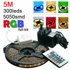 5M 5050smd led strip RGB 24 keys 5A adapter Flexible Controler Remote Xmas UK
