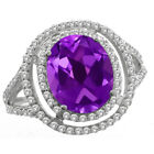 4.42 Ct Oval Purple Amethyst 925 Sterling Silver Ring (Center Amethyst 11x9mm)