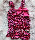 Newborn Baby Girls Hot Pink Zebra Satin Petti Romper Rompers Party Outfit NB-3Y