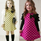 New Kids dress 2-7Y Cute Polka Dot Puff girls long-sleeve dress 1014