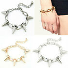 Gothic Punk Rivets Taper Stud Charms Circle Link Chain Necklace/Bracelet