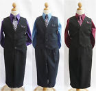 Boy black vest and tie purple burgundy wine navy blue wedding party ring bearer