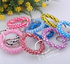 10/30/50pc Wholesale Tel Wire Stretchable Spiral Wrist Coil Key Chain ER055