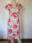 NEW EX WHITESTUFF RED & CREAM BEIGE FLORAL SUMMER TEA DRESS SZ 8 10 12 14 16 18