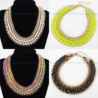 4 Colors Fashion Thick Gold Chain Handmade String Lint Wrap Choker Necklace