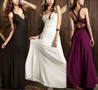 Womens Long Party Evening Bridesmaid Rhinestone Beaded Backless Cocktail Dress