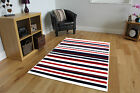New Navy Blue Cream Red Striped Area Rug Fashionable Affordable Easy Clean Milan
