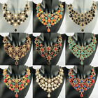 9 Mix Colors Fashion Gold Moon Shape Water Drop Resin Beads Pendant Bib Necklace
