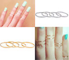 5pc/Set Gold/Silver Stack Plain Cute Above Knuckle Ring Band Midi Rings Size 5.5