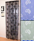 CAPRICE LACE VOILE NET CURTAIN PANEL BLACK WHITE CREAM SCALLOPED CHOICE OF DROPS