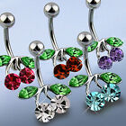 Surgical Steel Cherry CZ Belly Button Navel Ring Body Piercing Jewelry