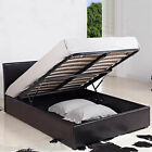 LEATHER STORAGE OTTOMAN BED+MATTRESS BUNDLE BLACK/BROWN 4FT6 DOUBLE 5FT KINGSIZE