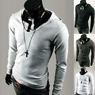 Mens Casual Stylish Polo Shirts Slim Fit Long Sleeve Hooded Tops Black T-Shirts