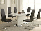 5PC HAVARTI MODERN WHITE CHROME METAL DINING TABLE SET w / WHITE / BLACK CHAIRS
