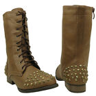 New Women's Lace Up Studded Spikes Military Combat Boots Taupe Sizes 6-10