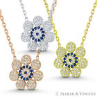 Evil Eye Flower Charm Greek Mati Turkish Nazar Hamsa CZ Sterling Silver Necklace