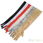 Evening Party Clubbing Wedding Wear Satin Elbow Long Gloves Black Red White BD4U