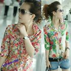 Lady' New Button Down T Shirt Stylish Flower Shirt Blouse Short Long Sleeve Tops