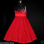 R3122 Red Dots Cheerful Spring Summer Flower Girls Dresses SIZE 2,3,4,5,6,7,8,10
