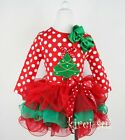 Xmas Red Green Petal Pettiskirt Tree Red Dots Long Sleeves Top Party Dress 1-7Y