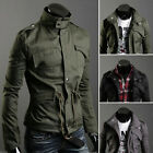 Fashion Elegant Men Military Slim Line Jacket Coat Rider Zip/Button Hoody Black
