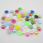 New 4/6/8 mm Half Pearl Beads Flat Back Scrapbook for Craft FlatBack AB Colors