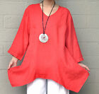 MOSAIC USA  2385 Linen Lagenlook  POLLY PANEL TUNIC Flare Top  S (S/M)  CORAL