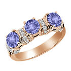 1.62 Ct Round Blue Tanzanite White Diamond 14K Rose Gold 3-Stone Ring