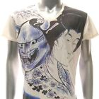 w22 M L XL Japanese Irezumi Tattoo VNECK T-shirt Hannya Demon Geisha Sakura Men