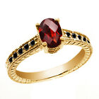 1.13 Ct Oval Checkerboard Red Garnet Black Diamond 14K Yellow Gold Ring