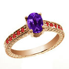 1.15 Ct Oval Purple Amethyst Red Garnet 14K Rose Gold Ring