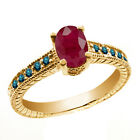 1.35 Ct Oval Red Ruby Blue Diamond 14K Yellow Gold Ring
