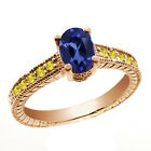 1.53 Ct Oval Blue Simulated Sapphire Yellow Sapphire 14K Rose Gold Ring