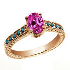 1.33 Ct Oval Pink Created Sapphire Blue Diamond 14K Rose Gold Ring