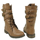 New Womens Mid Calf Strappy Lace Up  Military Combat Boots Light Brown Sz 5.5-10