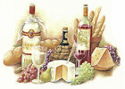 Ceramic Decals Wine Bread Cheese Grapes GOURMET MEAL
