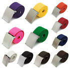 Candy Colors Mens Boys Unisex Plain Webbing Cotton Canvas Metal Buckle Belt 13