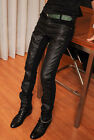 Mens Casual Straight Skinny PU Faux Leather Slim Fit Trouser Chaparajos Pants